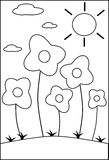 Coloring flowers. Image representing some flowers in a cartoon version. this project is thought to be colored by children between 3 and 5 years old Stock Photos