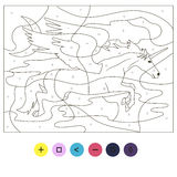 Coloring flying unicorn pegasus puzzle Royalty Free Stock Image