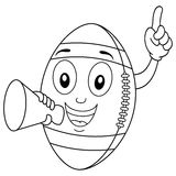 Coloring Football Character with Megaphone. Coloring illustration for kids: a happy cartoon football character smiling and holding a megaphone, isolated on white Royalty Free Stock Photography