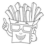 Coloring French Fries Bag with 3d Glasses Stock Images