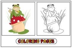 Coloring frog princess vector illustration