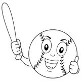 Coloring Funny Baseball Character with Bat. Coloring illustration for kids: a funny cartoon baseball character with thumbs up and holding a bat, isolated on stock illustration