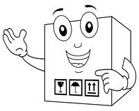 Coloring Funny Delivery Cardboard Box Stock Photos