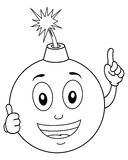 Coloring Funny Exploding Bomb Character Royalty Free Stock Images