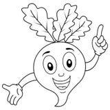 Coloring Funny Radish Character Smiling Royalty Free Stock Image