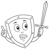 Coloring Funny Shield Character with Sword Royalty Free Stock Images