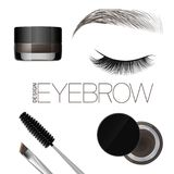 Coloring gel for eyebrows. Eyebrows makeup. Brush and comb for eyebrow. Beautiful closed eye and brow. Isolated on a white backgro. Und. Vector Royalty Free Stock Images