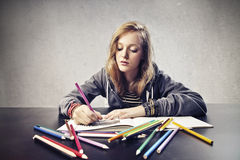 Coloring Girl Royalty Free Stock Photography