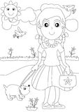 Coloring Girl and Dog Outdoor_eps Stock Image