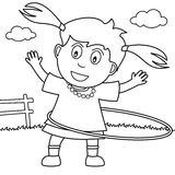 Coloring Girl Playing Hula Hoop in the Park. Coloring illustration for kids: a cute girl playing with a hula hoop in the park, isolated on white background. Eps vector illustration