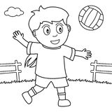 Coloring Girl Playing Volleyball in the Park Royalty Free Stock Photos