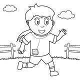 Coloring Girl Running or Jogging in the Park Stock Photos