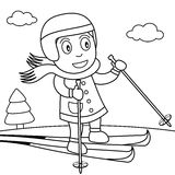 Coloring Girl Skiing on the Snow in the Park Stock Photos