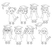 Coloring. Girls. Set of children in a graduation gown and mortarboard. Royalty Free Stock Photos