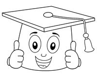 Coloring Graduation Hat with Thumbs Up Stock Photo