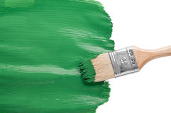 Coloring green with paintbrush Royalty Free Stock Photography