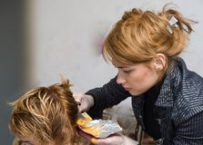 Coloring hair. A woman hairstylist applying color to another person's hair Royalty Free Stock Photos