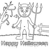 Coloring Halloween Monsters - Cute Devil Stock Photo