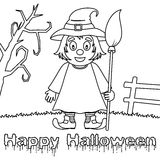 Coloring Halloween Monsters - Cute Witch Stock Photos