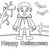 Coloring Halloween Monsters - Dracula Royalty Free Stock Image