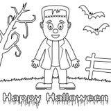 Coloring Halloween Monsters - Frankenstein Royalty Free Stock Photo
