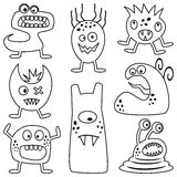 Coloring Halloween Monsters for Kids. Collection of eight funny coloring Halloween monsters for kids, isolated on white background. Eps file available Royalty Free Stock Photos