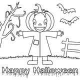 Coloring Halloween Monsters - Scarecrow Royalty Free Stock Photo