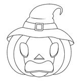 Coloring Halloween Scary Pumpkin with Hat Royalty Free Stock Photo