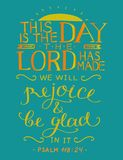 Coloring hand lettering with bible verse This is the day the Lord has made. Psalm. Hand lettering with bible verse This is the day the Lord has made. Psalm Royalty Free Stock Image