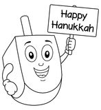 Coloring Hanukkah Dreidel Holding Sign Royalty Free Stock Image