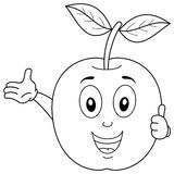Coloring Happy Apple Character Smiling vector illustration