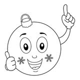 Coloring Happy Christmas Ball Character Stock Photo