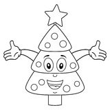 Coloring Happy Christmas Tree Character. Coloring illustration for kids: a funny Christmas tree character smiling, isolated on white background. Eps file Royalty Free Stock Images
