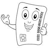 Coloring Happy Credit Card Character Stock Images