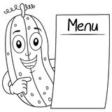 Coloring Happy Cucumber with Blank Menu Stock Photo