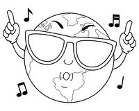 Coloring Happy Earth Character Whistling. Coloring illustration for kids: a cool cartoon happy earth character whistling with sunglasses, isolated on white Royalty Free Stock Image