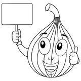 Coloring Happy Fig Fruit Holding Banner. Coloring illustration for kids: a happy fig fruit character smiling with thumbs up and holding a blank banner, isolated Royalty Free Stock Image