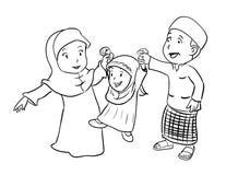 Coloring Happy Muslim Family - Vector Illustration. Linear Illustration of Happy Islamic Family. Vector Cartoon character for coloring Vector Illustration
