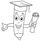 Coloring Happy Pencil with Graduation Hat stock illustration