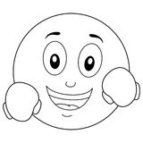 Coloring Happy Smiley with Boxing Gloves Royalty Free Stock Photography