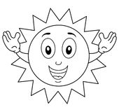 Coloring Happy Summer Sun Character. Coloring illustration for kids: a happy summer sun character with thumbs up, isolated on white background. Eps file Stock Images
