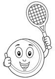 Coloring Happy Tennis Ball with Racket Royalty Free Stock Images