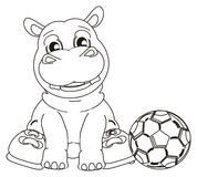 Coloring hippo with football Royalty Free Stock Photos