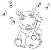 Coloring hippo with guitar Royalty Free Stock Images