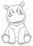 Coloring hippo sit Royalty Free Stock Photos