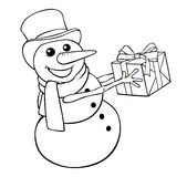 Coloring сhristmas snowman with gift on a white background Stock Image