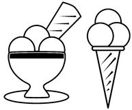 Coloring ice cream. Set of ice cream in a cartoon version. this project is thought to be colored by children between 3 and 5 years old vector illustration