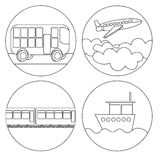 Coloring icon set transport ship, plane, train, bus. Stock Photography