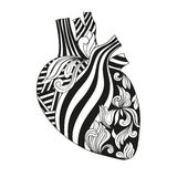 Coloring illustration of heart. Stock Photo