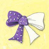 Coloring illustration of the ribbon bow Royalty Free Stock Images